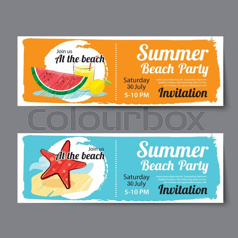 Superior Colourbox  Party Ticket Template