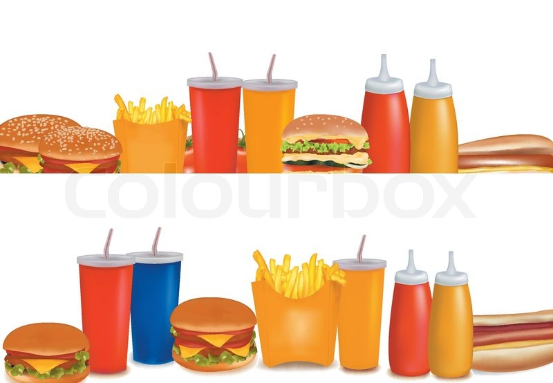 big group of fast food products stock vector colourbox