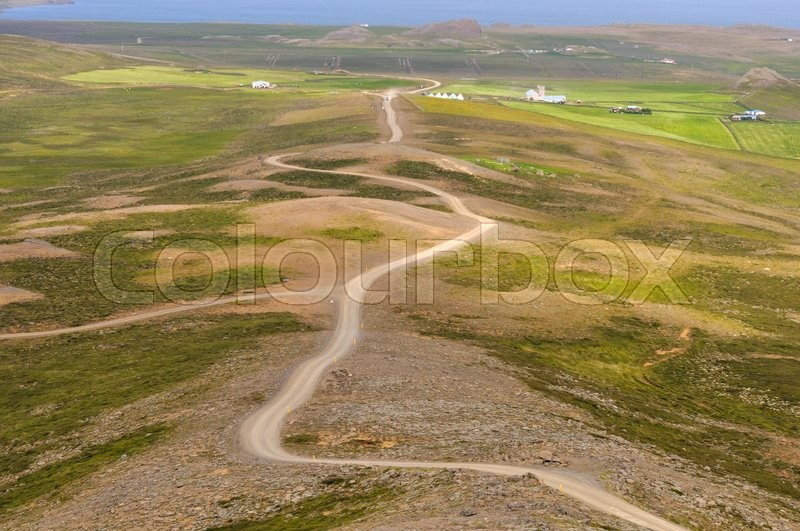 Stock foto af 'Gravel road near Borgarvirki in Northern Iceland'