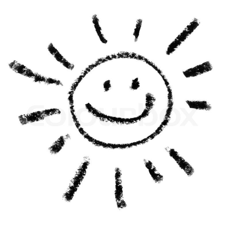 Painted Lachende Sonne Symbol Outline. | Stockfoto | Colourbox