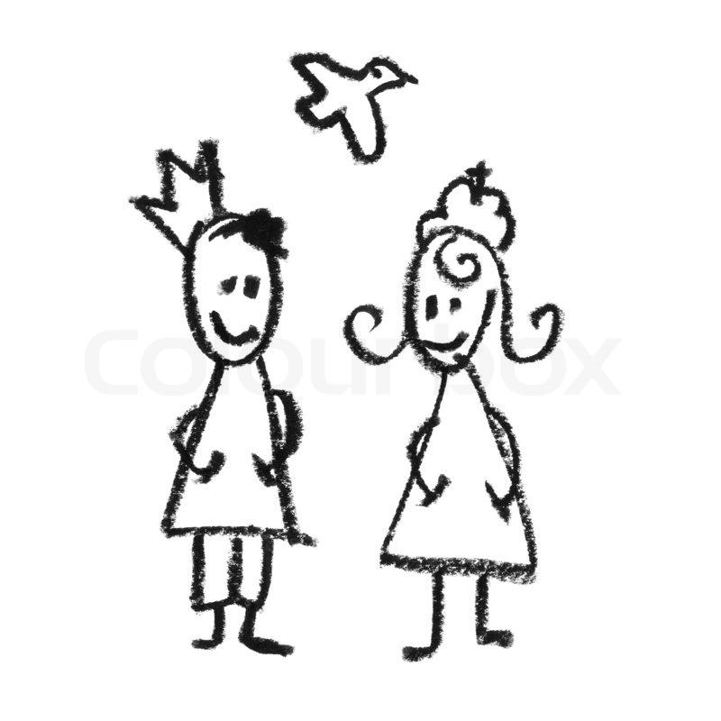 Koning Koningin Kleurplaat K 246 Nig Und K 246 Nigin Mit Fliegenden Taube Stock Bild