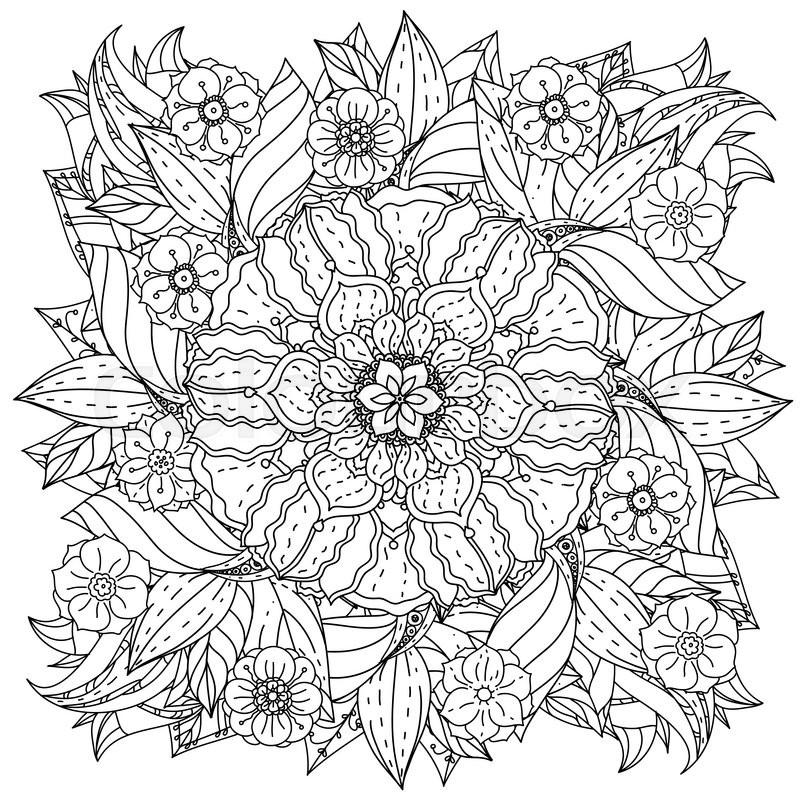 Contoured mandala shape flowers for adult coloring book in zen art ...