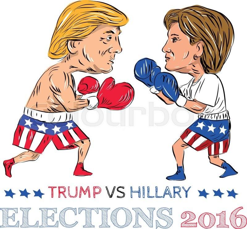 Image result for hillary vs trump cartoon