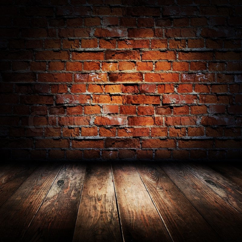 Interior Of Rural House Brick Wall And Wooden Floor Scene Stock Photo Colourbox