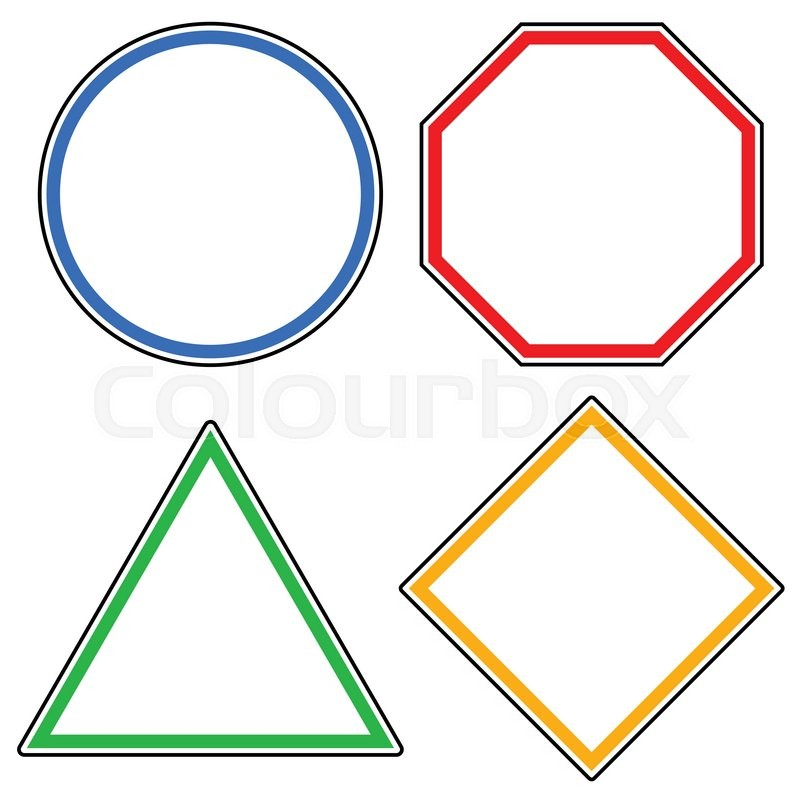set of roadsigns circle octagon stop sign triangle and square