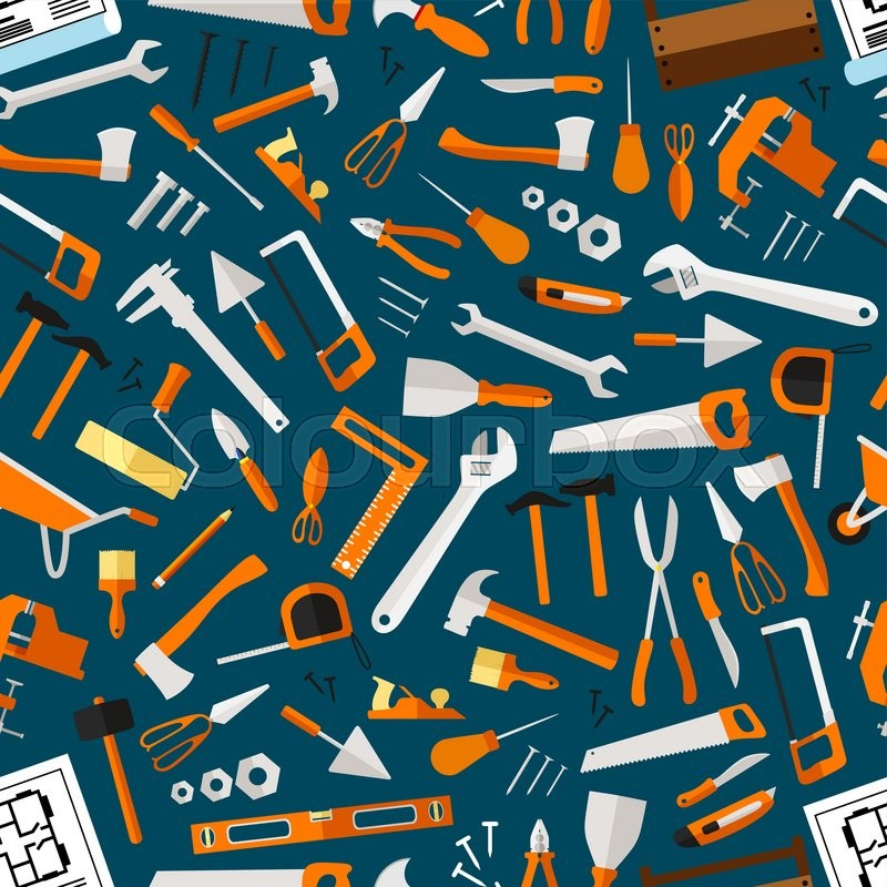 Construction And Repair Tools Seamless Pattern Wallpaper Carpentry Flat Icons Background Carpenter Builder Working Elements Vector Hammer Axe Ruler