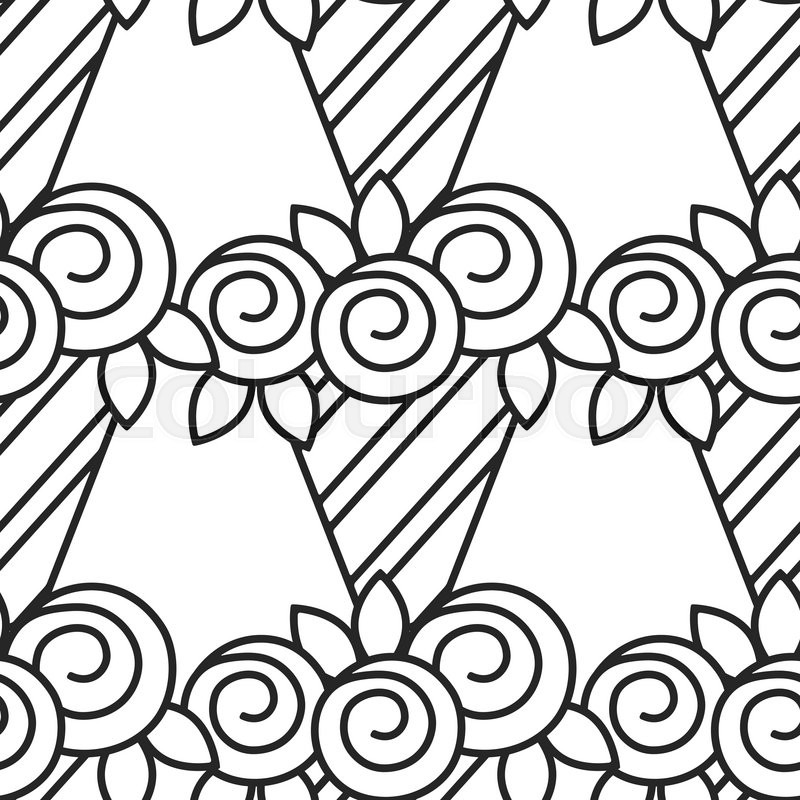 Bouquet of roses Black and white seamless pattern with flowers