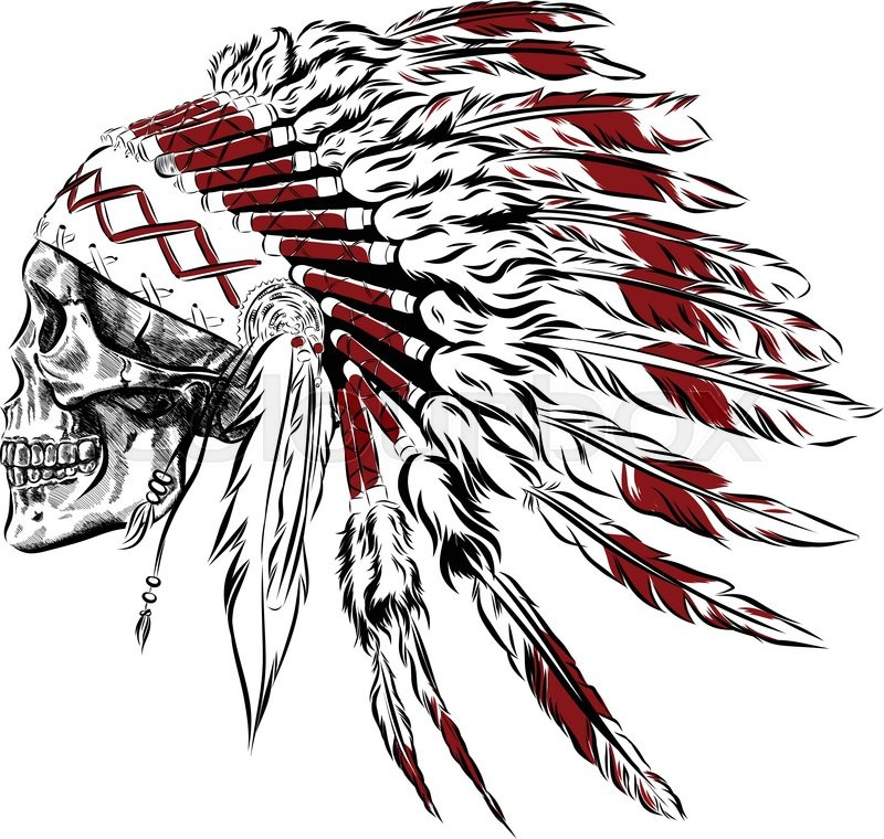 hand drawn native american indian feather headdress with human skull rh colourbox com native american victorio native american victory dance