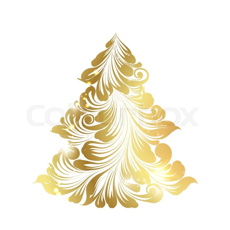 golden christmas fir tree decoration on glitter over the white background holiday card with icon of the fir tree happy new year card vector illustration