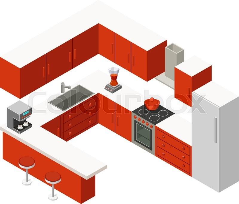 Kitchen Remodel Keywords: Vector Isometric Kitchen With Red Furniture