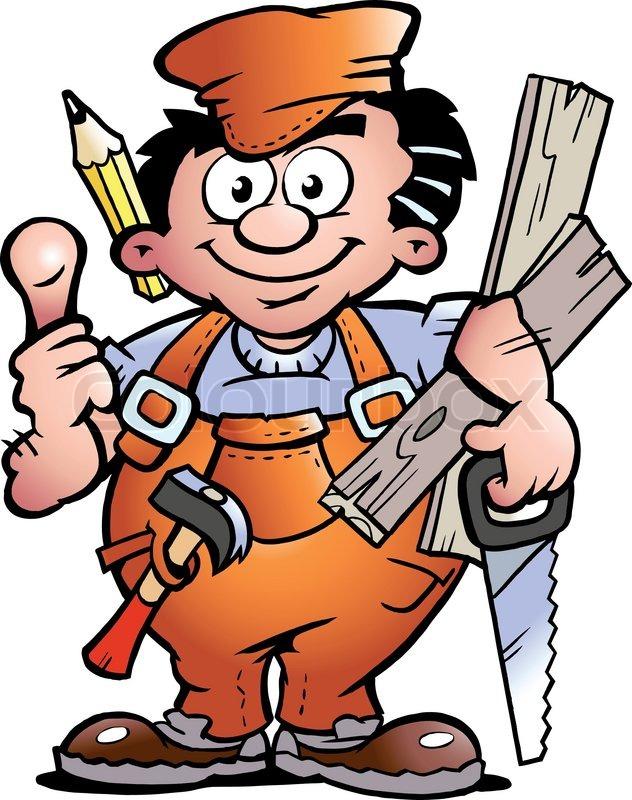 Bauarbeiter clipart schwarz weiß  Handgezeichnete Vektor-Illustration von einem Schreiner Handwerker ...