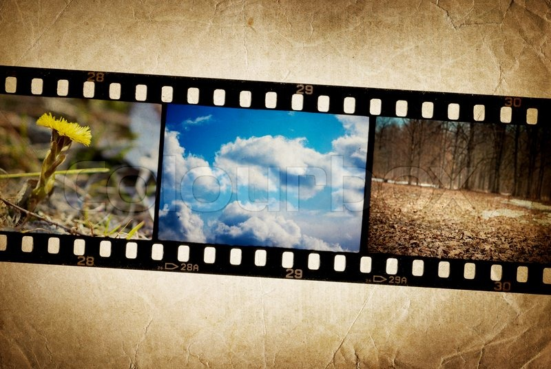 Nature Photo With Film Strip On Vintage Background