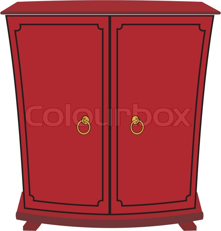 Vector image of isolated wardrobe with cartoon style ...