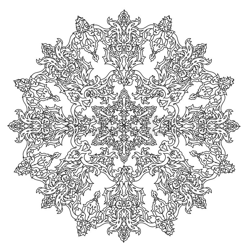 circle ornament of snowflakes in shape of mandala for adult coloring book or for zen anti stress