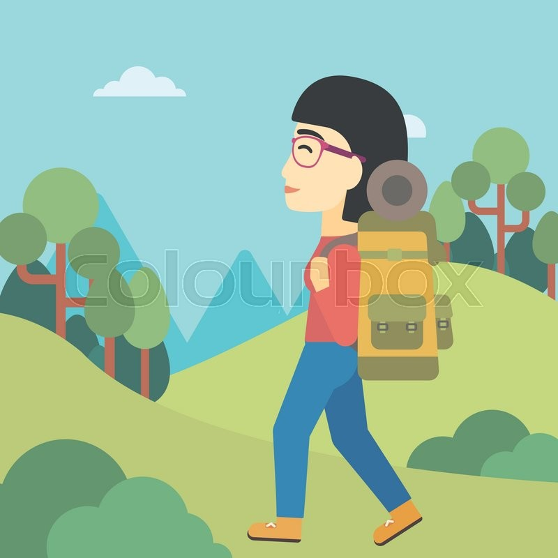 An asian woman hiking in mountains. Female traveler with backpack mountaineering. Hiking woman with backpack walking outdoor. Vector flat design illustration. Square layout, vector