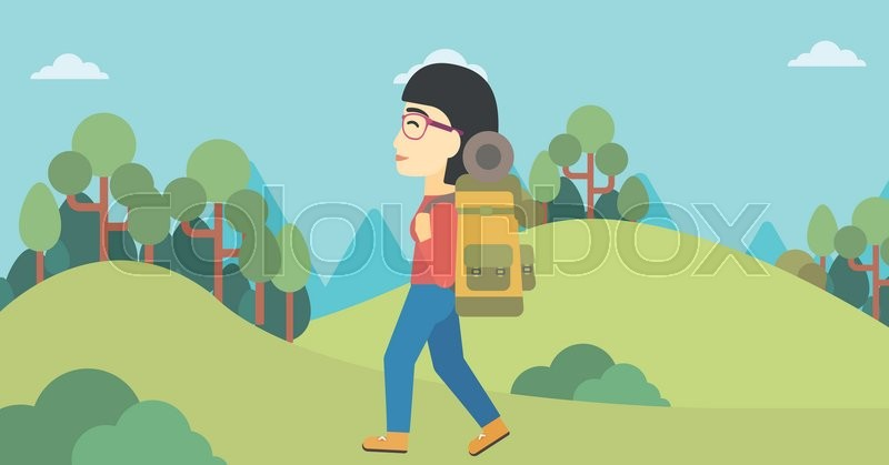 An asian woman hiking in mountains. Female traveler with backpack mountaineering. Hiking woman with backpack walking outdoor. Vector flat design illustration. Horizontal layout, vector