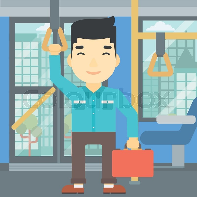 An asian young man traveling by public transport. Man traveling by passenger bus or subway. Vector flat design illustration. Square layout, vector