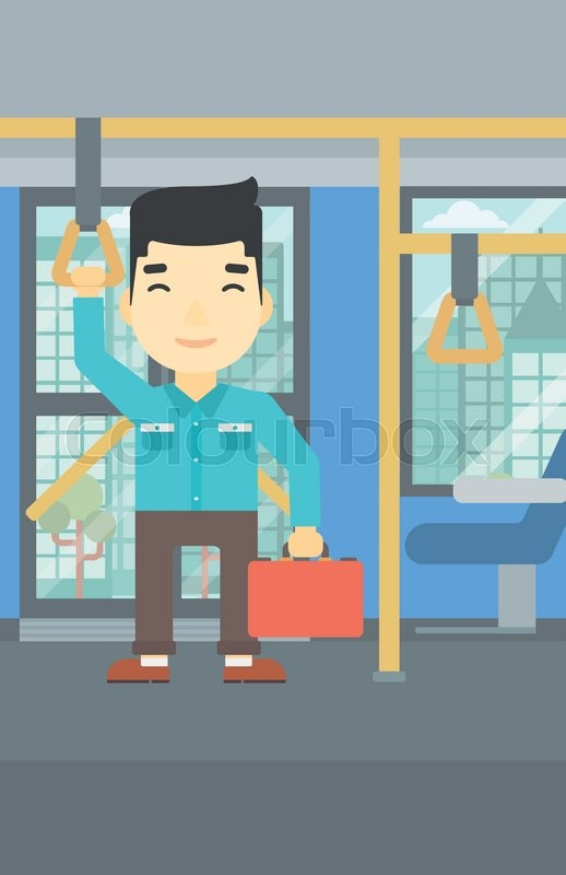 An asian young man traveling by public transport. Man traveling by passenger bus or subway. Vector flat design illustration. Vertical layout, vector