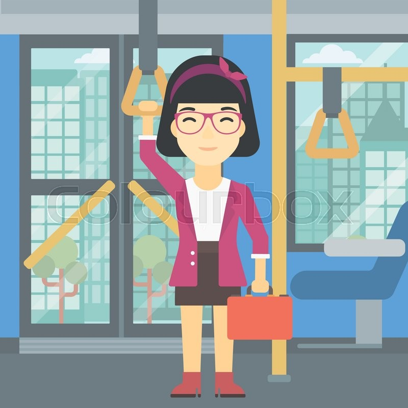 An asian woman traveling by public transport. Young woman standing inside public transport. Woman traveling by passenger bus or subway. Vector flat design illustration. Square layout, vector