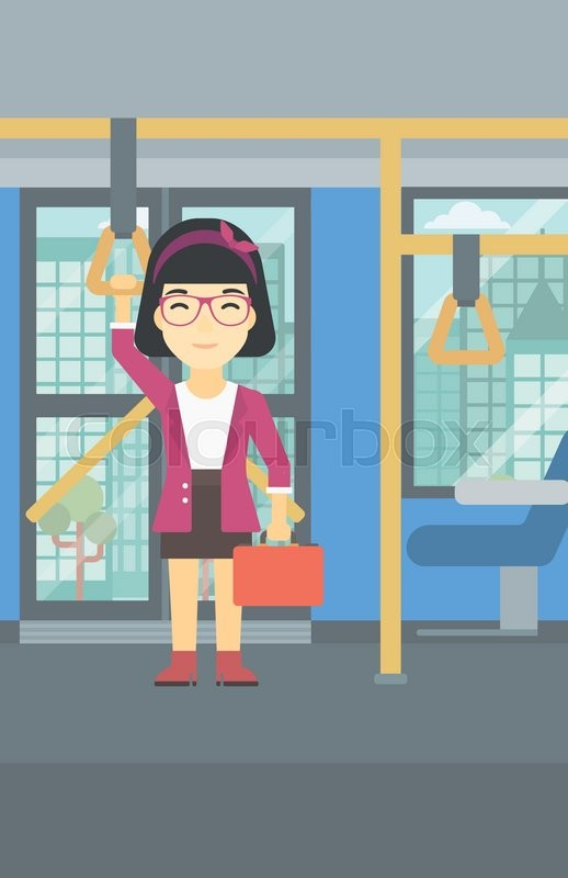 An asian woman traveling by public transport. Young woman standing inside public transport. Woman traveling by passenger bus or subway. Vector flat design illustration. Vertical layout, vector