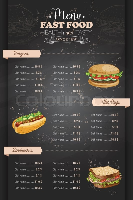 Drawing vertical color fast food menu design on blackboard for Sandwich shop menu template