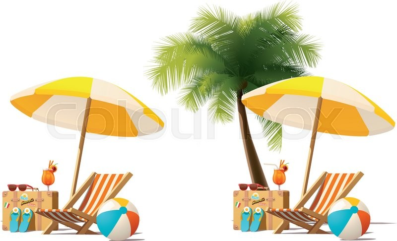 Detailed Vector Icon Representing Deck Chair Travel