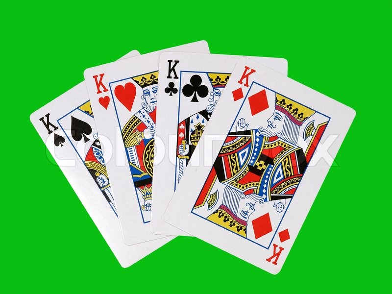 Casino cards on a green background. | Stock image | Colourbox