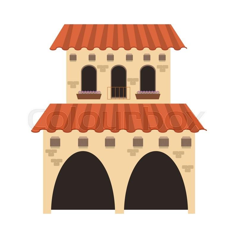 Flat design spanish colonial architecture icon vector illustration, vector