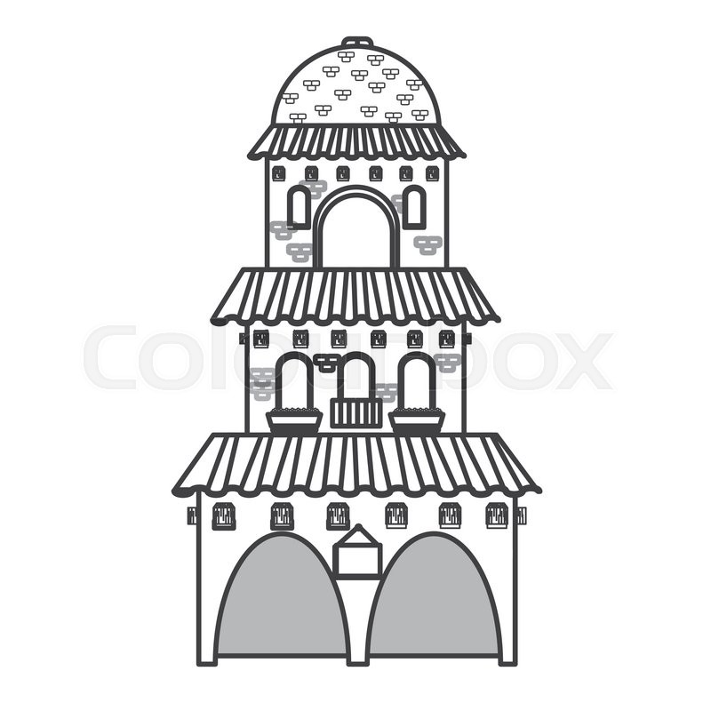 Flat design spanish colonial architecture icon vector illustration, vector