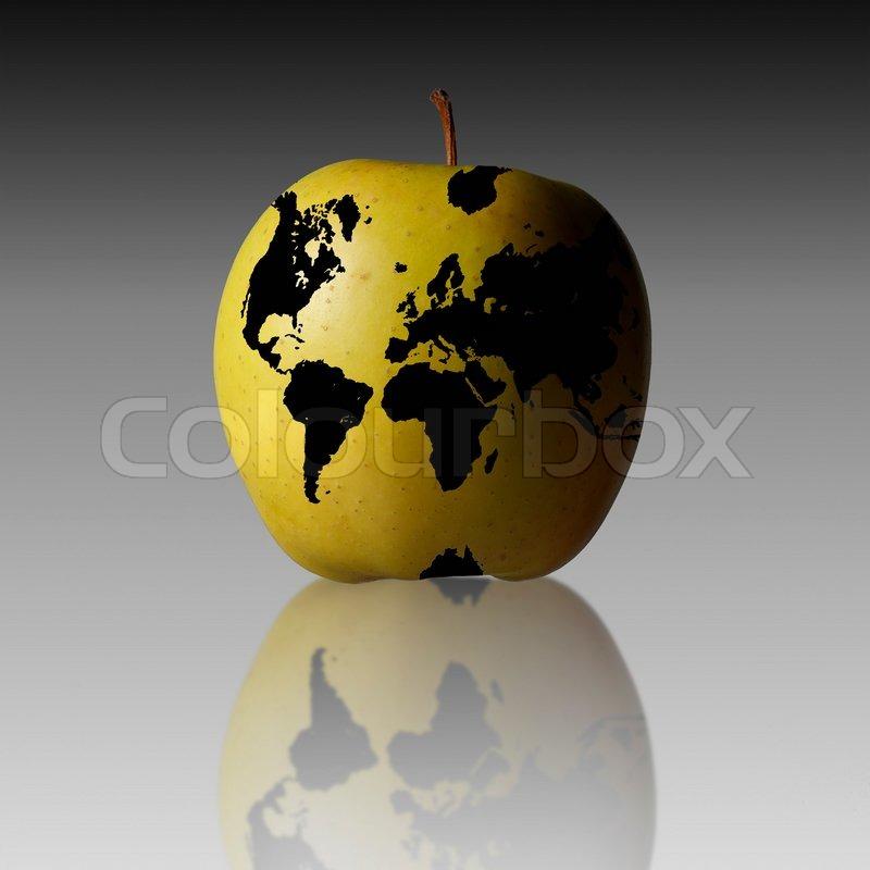 Bruno veillardaltopressmaxppp world map on apple stock photo stock image of bruno veillardaltopressmaxppp world map on apple gumiabroncs Images