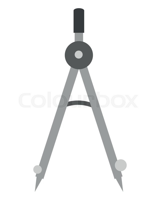 Flat Design Measuring Compass Icon Vector Illustration Stock