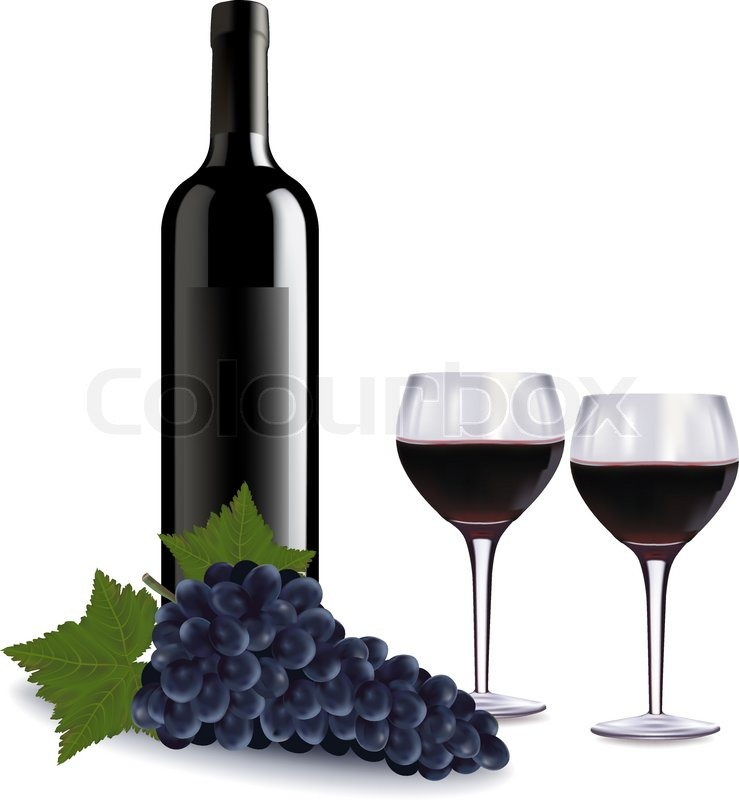 A Wine Bottle Two Glasses Of Red Wine And Some Grapes