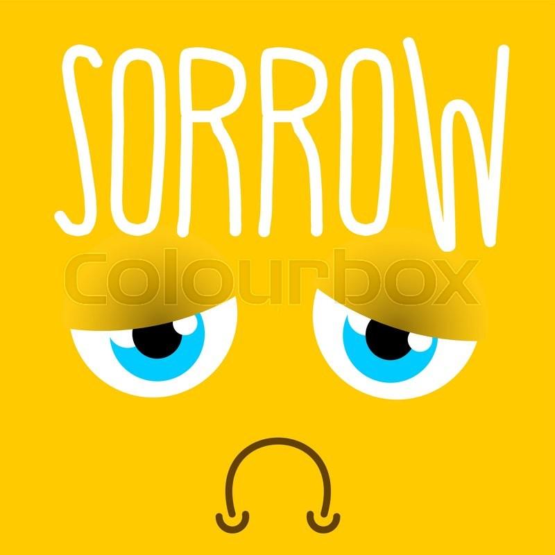 Sadness sad emotion. Yellow face sorrowful eyes. melancholyd mouth. tragic sign , vector