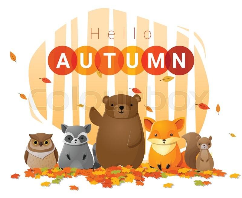 Hello autumn background with wild animals , vector , illustration, vector