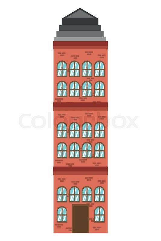 Flat Design Single Building Icon Vector Illustration