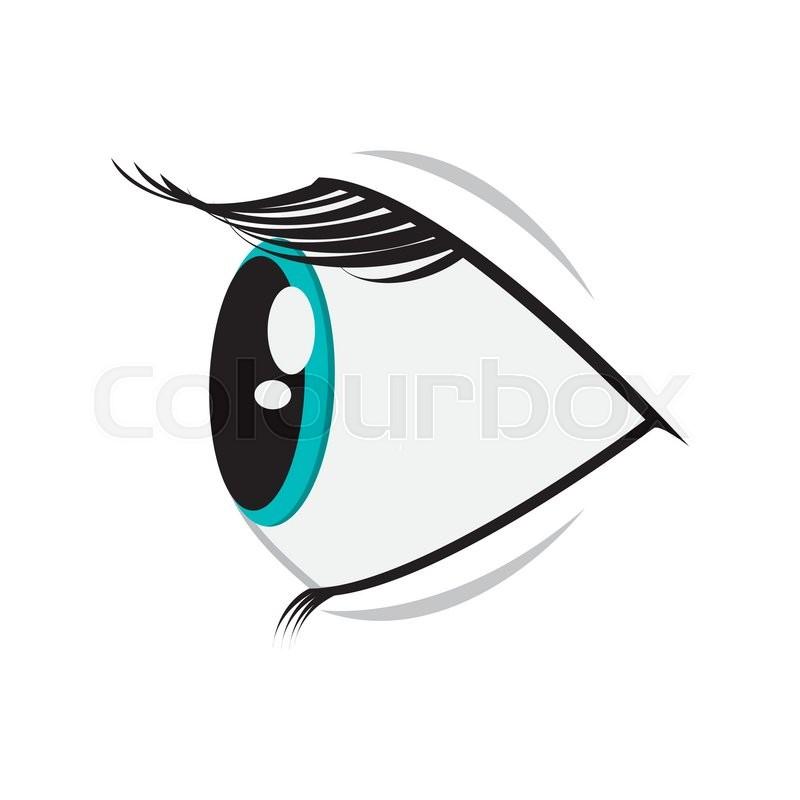 Flat Design Cartoon Eye Profile Icon Stock Vector