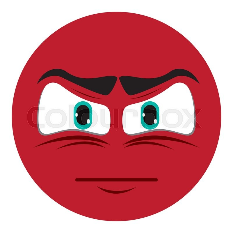Flat Design Angry Face Emoticon Icon Vector Illustration Stock