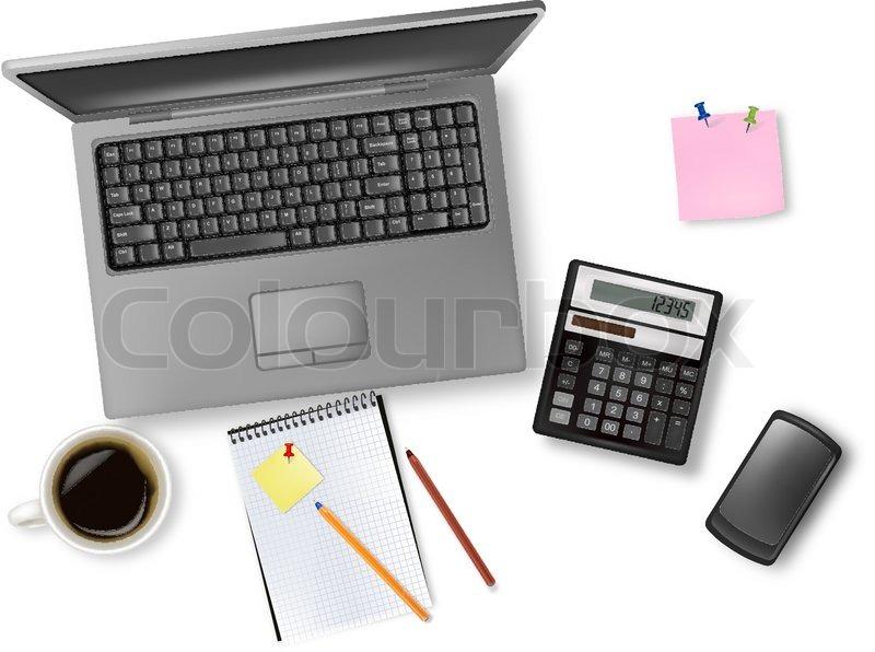 Laptop Und Büromaterial Verlegung Auf Vektorgrafik Colourbox