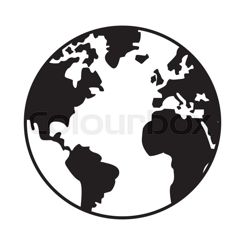 World Map Globe Earth Icon Isolated Stock Vector Colourbox