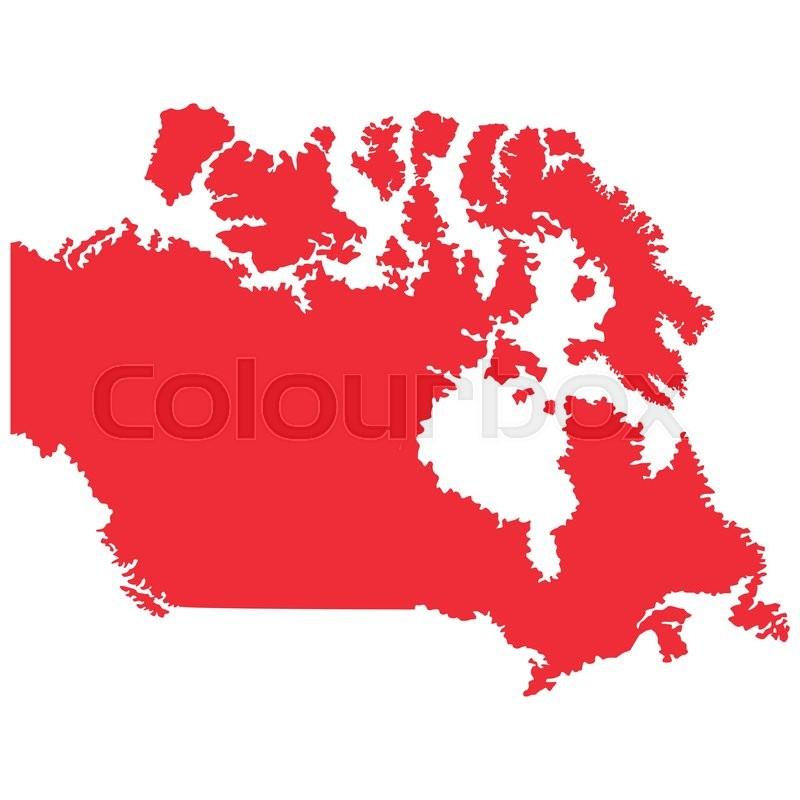 Flat Design Canada Map Silhouette Icon Vector Illustration Stock - Map silhouette