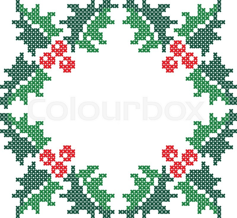 Cross Stitch Scheme Of Knitting And Embroidery Vector Pattern