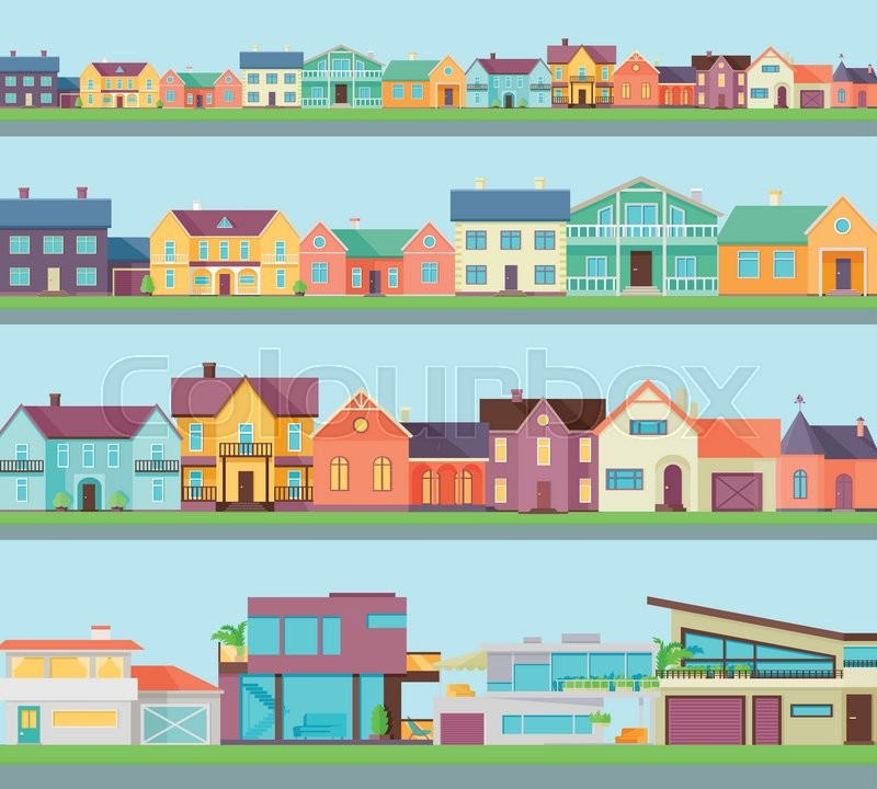 Big set of houses, buildings, architecture variations. Cottage and country houses. Countryside or city architecture. Part of series of modern buildings in flat style. Real estate concept. Vector, vector