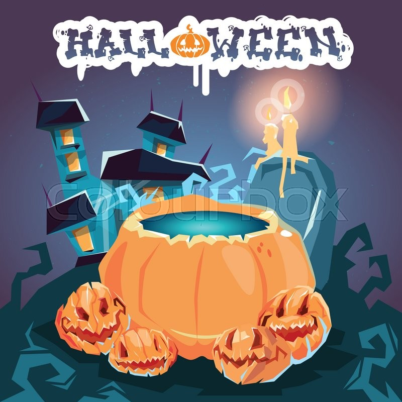 Halloween House With Boiling Potion Stock Vector