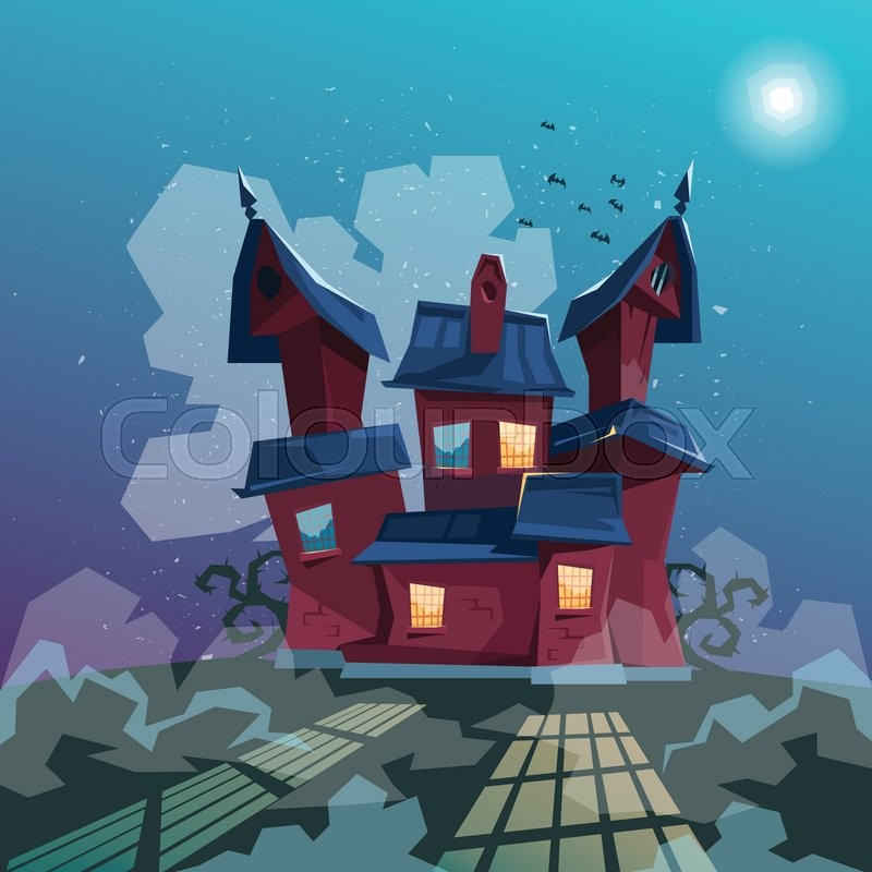 Halloween House Party Invitation Card Stock Vector