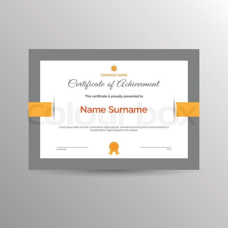 Simple Certificate Of Achievement Template Stock Vector Colourbox