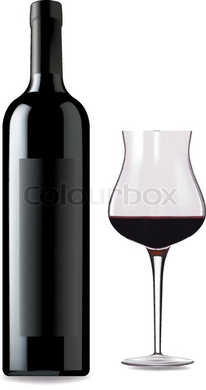 A wine bottle and glass of wine and some grapes vector for Red glass wine bottles suppliers
