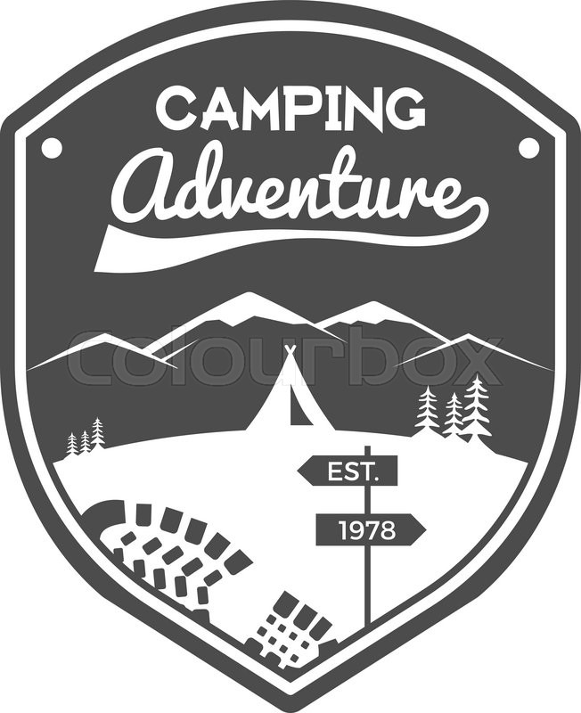Camping Adventures Label. Vintage Mountain winter or summer camp ...