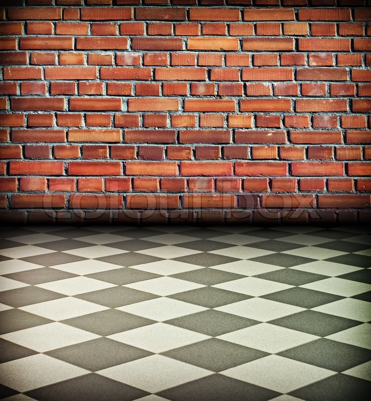 Creative Vintage Interior With Brick Wall And Chess Tile Floor Stock Photo Colourbox