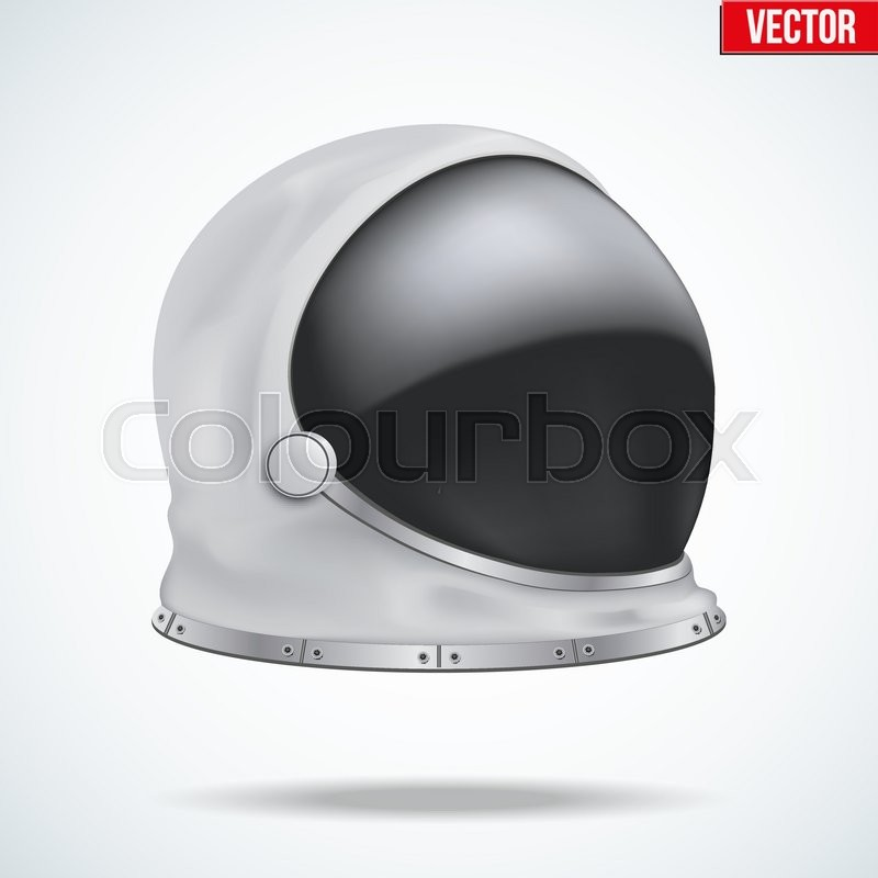 Astronaut helmet with big glass and reflection. Side view ...