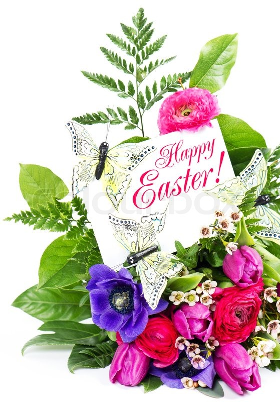 Happy Easter Spring Flowers Card Stock Photo Colourbox